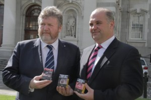 Ireland's Minister for Health Dr James Reilly and Chief Medical Officer Dr Tony Holohan promote plain packaging of tobacco products